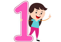 Girl Standing With Number One Math Clipart