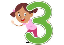 Girl Standing With Number Three Math Clipart