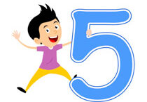 Playful Boy Standing With Number Five Math Clipart
