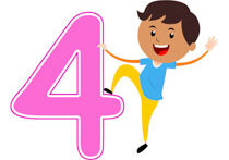 Playful Boy Standing With Number Four Math Clipart