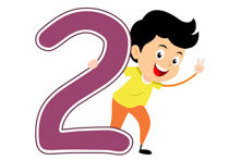 Playful Boy Standing With Number Two Math Clipart